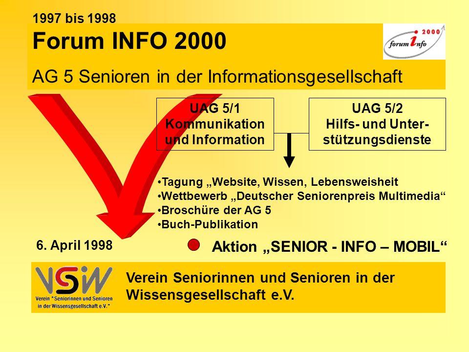 Forum INFO 2000 AG 5 Senioren in der Informationsgesellschaft Verein Seniorinnen und Senioren in der Wissensgesellschaft e.V. 6. April 1998 UAG 5/1 Ko