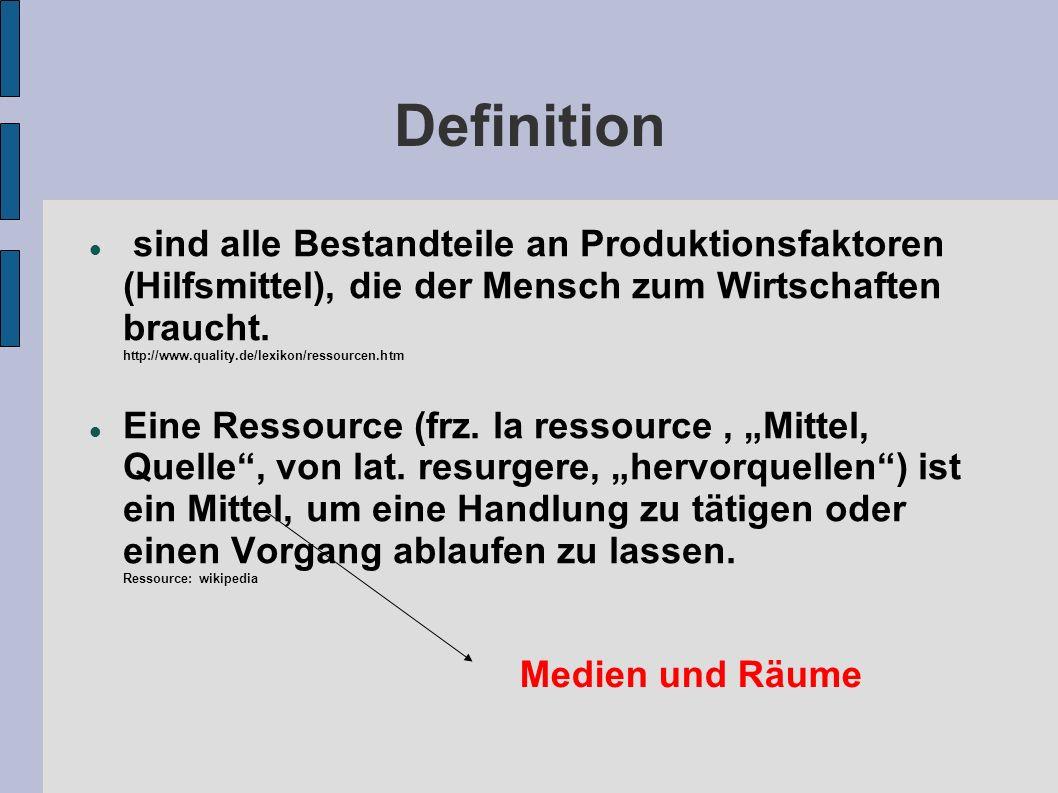 Definition sind alle Bestandteile an Produktionsfaktoren (Hilfsmittel), die der Mensch zum Wirtschaften braucht. http://www.quality.de/lexikon/ressour
