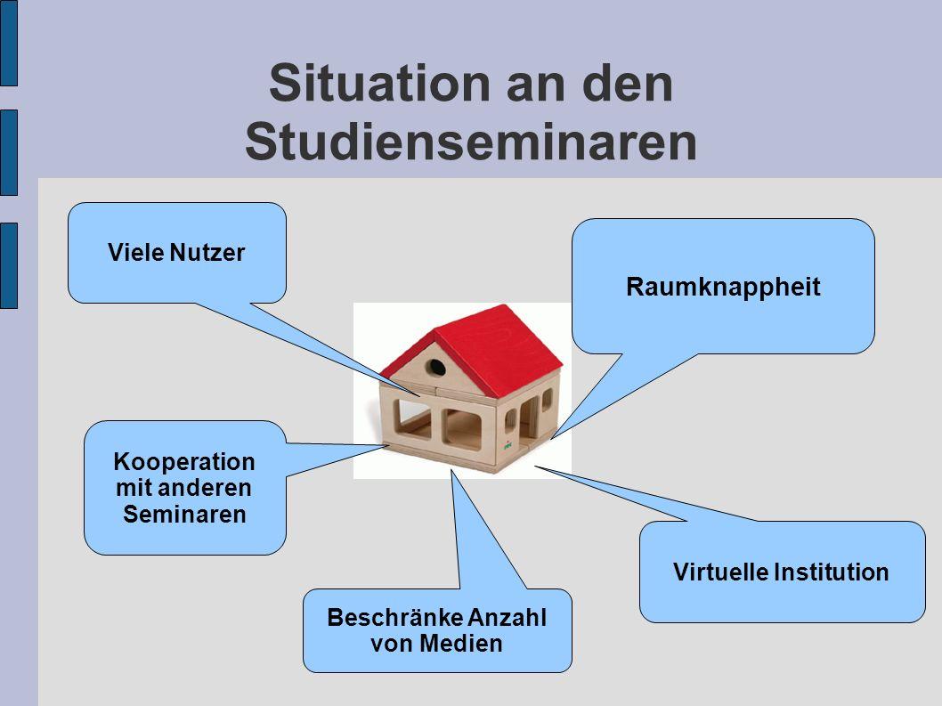 Situation an den Studienseminaren Raumknappheit Viele Nutzer Beschränke Anzahl von Medien Virtuelle Institution Kooperation mit anderen Seminaren