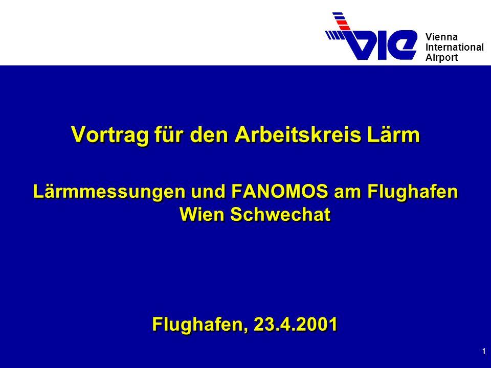 Vienna International Airport 2 FANOMOS - System (1) u Flight Track And Noise Monitoring System seit 1990 u Anschaffung auf freiwilliger Basis u Gesamtinvestitionen für Anschaffung und Upgrading bisher öS 10 Mio.