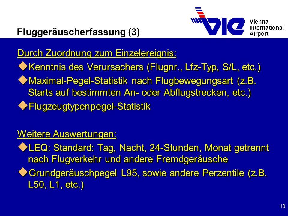 Vienna International Airport 10 Fluggeräuscherfassung (3) Durch Zuordnung zum Einzelereignis: u Kenntnis des Verursachers (Flugnr., Lfz-Typ, S/L, etc.) u Maximal-Pegel-Statistik nach Flugbewegungsart (z.B.