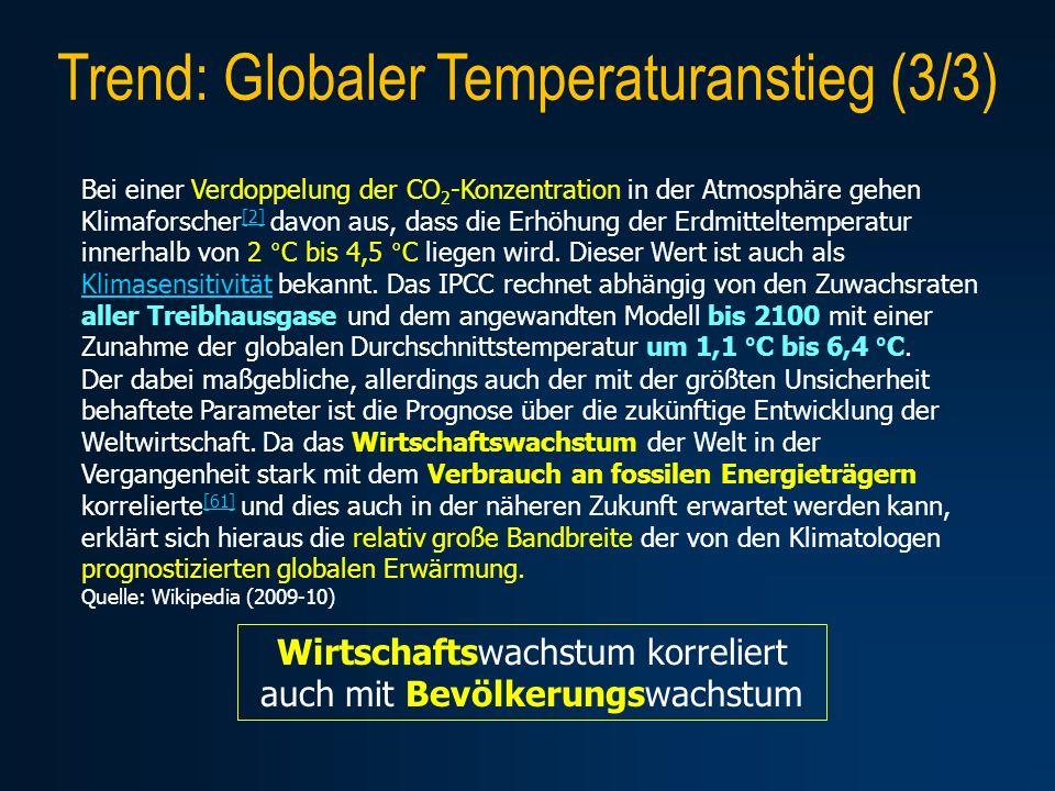 Trend: Globaler Temperaturanstieg (3/3) Bei einer Verdoppelung der CO 2 -Konzentration in der Atmosphäre gehen Klimaforscher [2] davon aus, dass die E