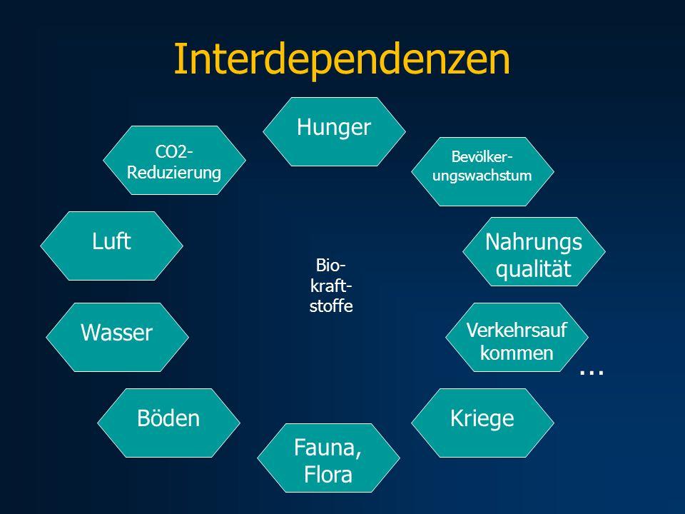 Interdependenzen CO2- Reduzierung Hunger Verkehrsauf kommen Bevölker- ungswachstum WasserLuft Nahrungs qualität BödenKriege Fauna, Flora … Bio- kraft-