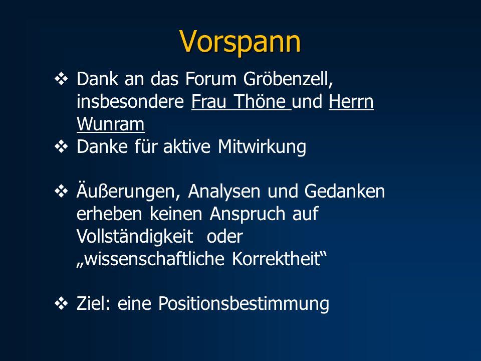 Dank an das Forum Gröbenzell, insbesondere Frau Thöne und Herrn Wunram Danke für aktive Mitwirkung Äußerungen, Analysen und Gedanken erheben keinen An