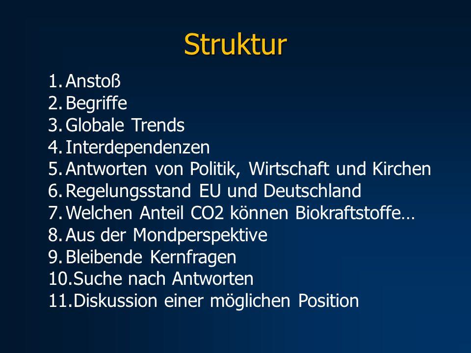 Struktur 1.Anstoß 2.Begriffe 3.Globale Trends 4.Interdependenzen 5.Antworten von Politik, Wirtschaft und Kirchen 6.Regelungsstand EU und Deutschland 7
