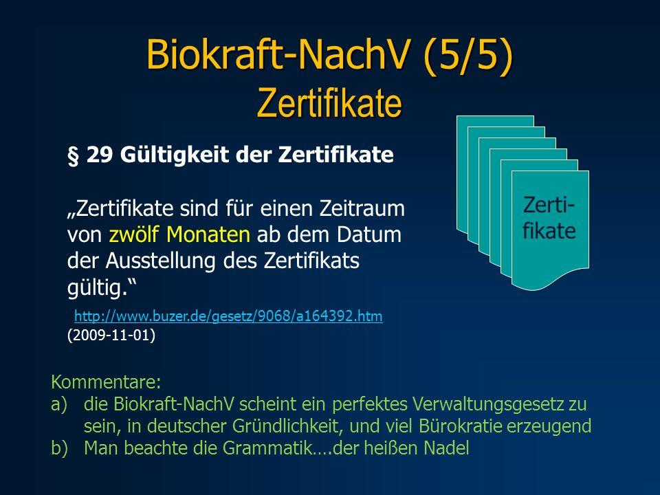 Biokraft-NachV (5/5) Zertifikate § 29 Gültigkeit der Zertifikate Zertifikate sind für einen Zeitraum von zwölf Monaten ab dem Datum der Ausstellung de