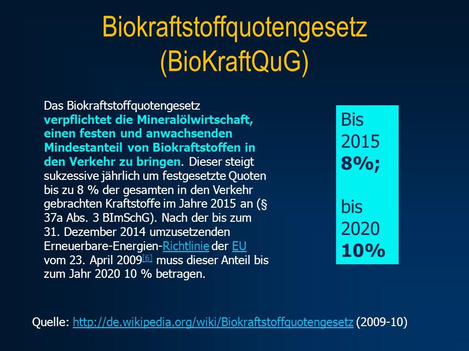 Biokraftstoffquotengesetz (BioKraftQuG) Quelle: http://de.wikipedia.org/wiki/Biokraftstoffquotengesetz (2009-10)http://de.wikipedia.org/wiki/Biokrafts