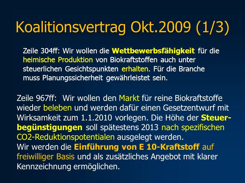 Koalitionsvertrag Okt.2009 (1/3) Zeile 304ff: Wir wollen die Wettbewerbsfähigkeit für die heimische Produktion von Biokraftstoffen auch unter steuerli