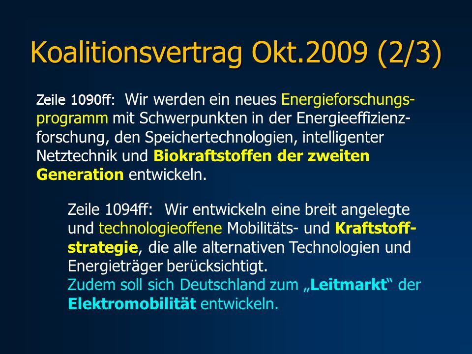Koalitionsvertrag Okt.2009 (2/3) Zeile 1090ff: Wir werden ein neues Energieforschungs- programm mit Schwerpunkten in der Energieeffizienz- forschung,