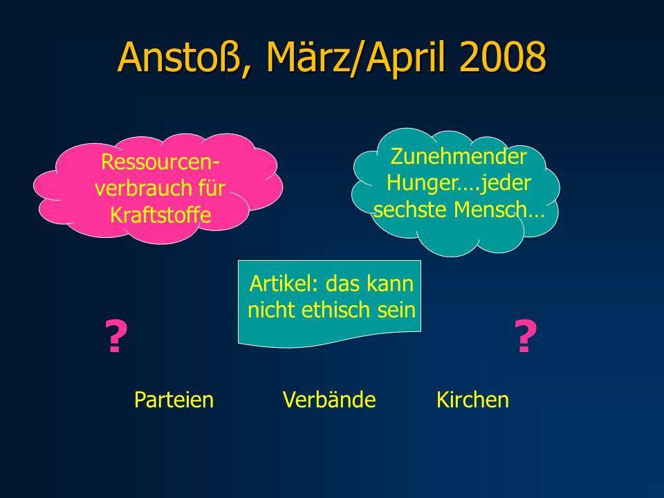 Anstoß, März/April 2008 Ressourcen- verbrauch für Kraftstoffe Zunehmender Hunger….jeder sechste Mensch… Artikel: das kann nicht ethisch sein ParteienV