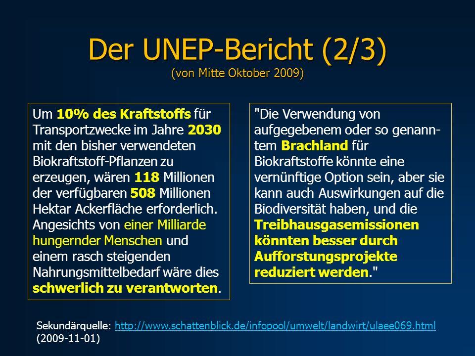 Der UNEP-Bericht (2/3) (von Mitte Oktober 2009) Um 10% des Kraftstoffs für Transportzwecke im Jahre 2030 mit den bisher verwendeten Biokraftstoff-Pfla