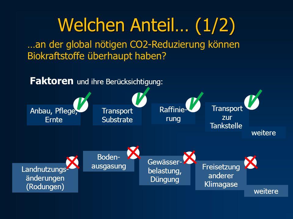 Welchen Anteil… (1/2) …an der global nötigen CO2-Reduzierung können Biokraftstoffe überhaupt haben? Anbau, Pflege, Ernte Transport Substrate Raffinie-