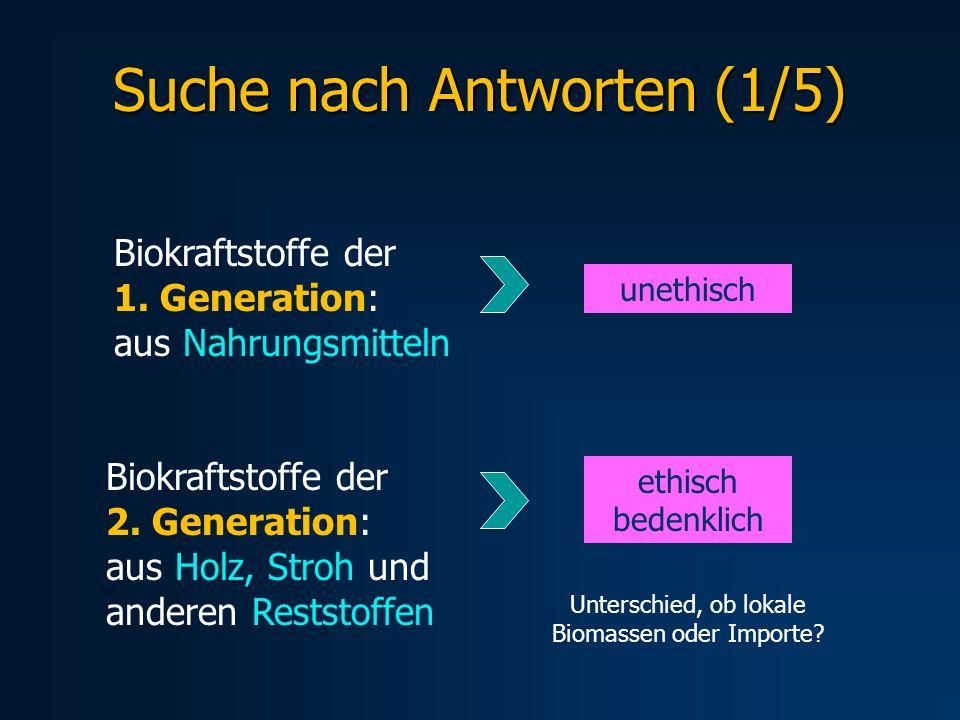 Suche nach Antworten (1/5) Biokraftstoffe der 1. Generation: aus Nahrungsmitteln unethisch Biokraftstoffe der 2. Generation: aus Holz, Stroh und ander