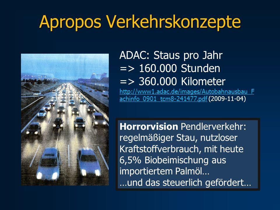 Apropos Verkehrskonzepte Horrorvision Pendlerverkehr: regelmäßiger Stau, nutzloser Kraftstoffverbrauch, mit heute 6,5% Biobeimischung aus importiertem
