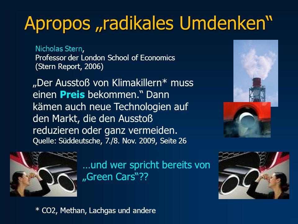 Apropos radikales Umdenken Nicholas Stern, Professor der London School of Economics (Stern Report, 2006) Der Ausstoß von Klimakillern* muss einen Prei