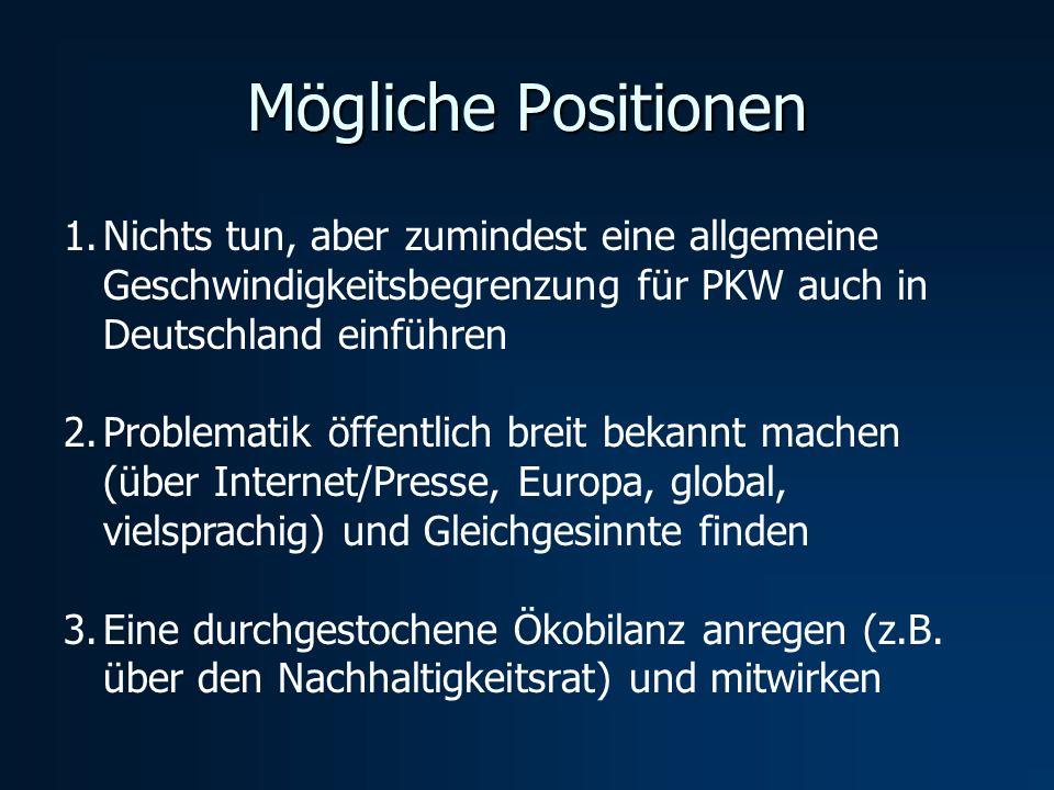 Mögliche Positionen 1.Nichts tun, aber zumindest eine allgemeine Geschwindigkeitsbegrenzung für PKW auch in Deutschland einführen 2.Problematik öffent