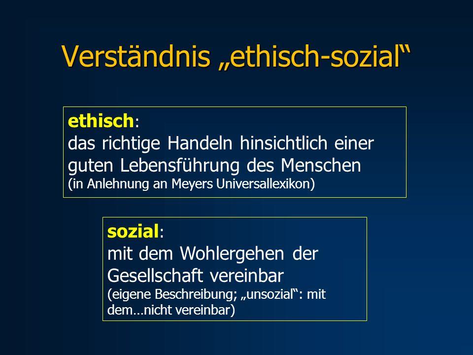 Verständnis ethisch-sozial ethisch : das richtige Handeln hinsichtlich einer guten Lebensführung des Menschen (in Anlehnung an Meyers Universallexikon