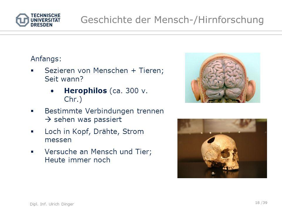Dipl. Inf. Ulrich Dinger /39 Geschichte der Mensch-/Hirnforschung Anfangs: Sezieren von Menschen + Tieren; Seit wann? Herophilos (ca. 300 v. Chr.) Bes