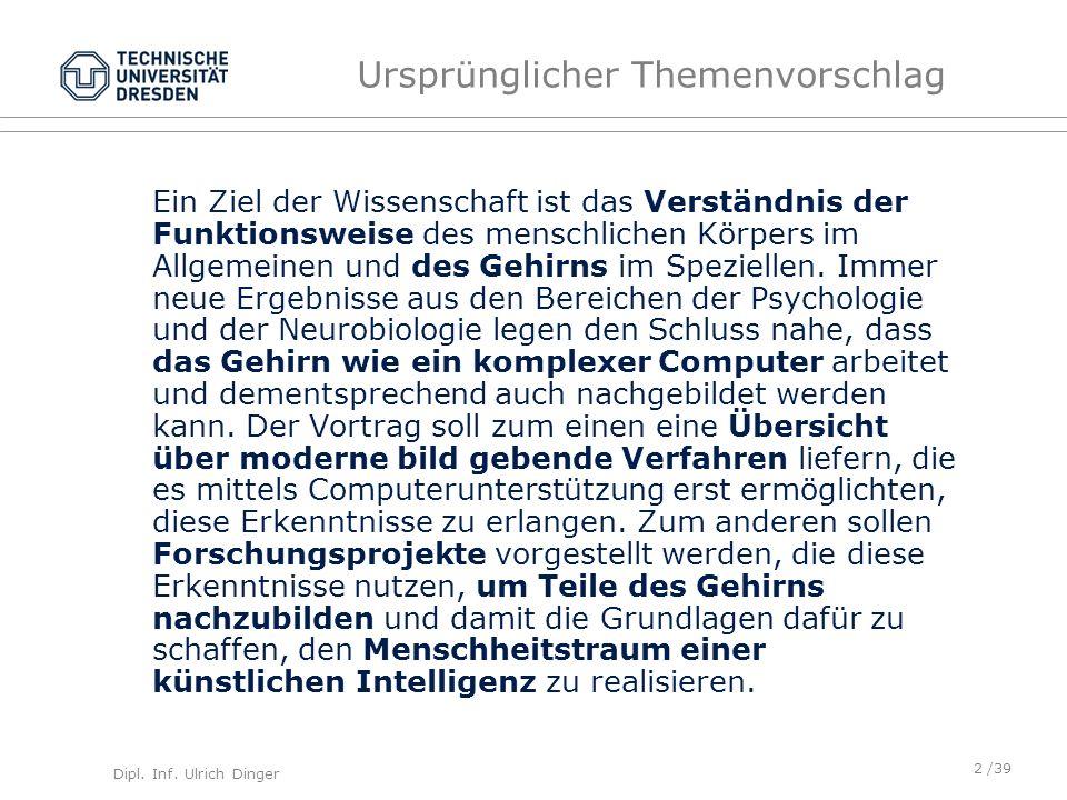 Dipl.Inf. Ulrich Dinger /39 Forschung/Zukunft Neurointerface Nutzung als Speichermedium bzw.
