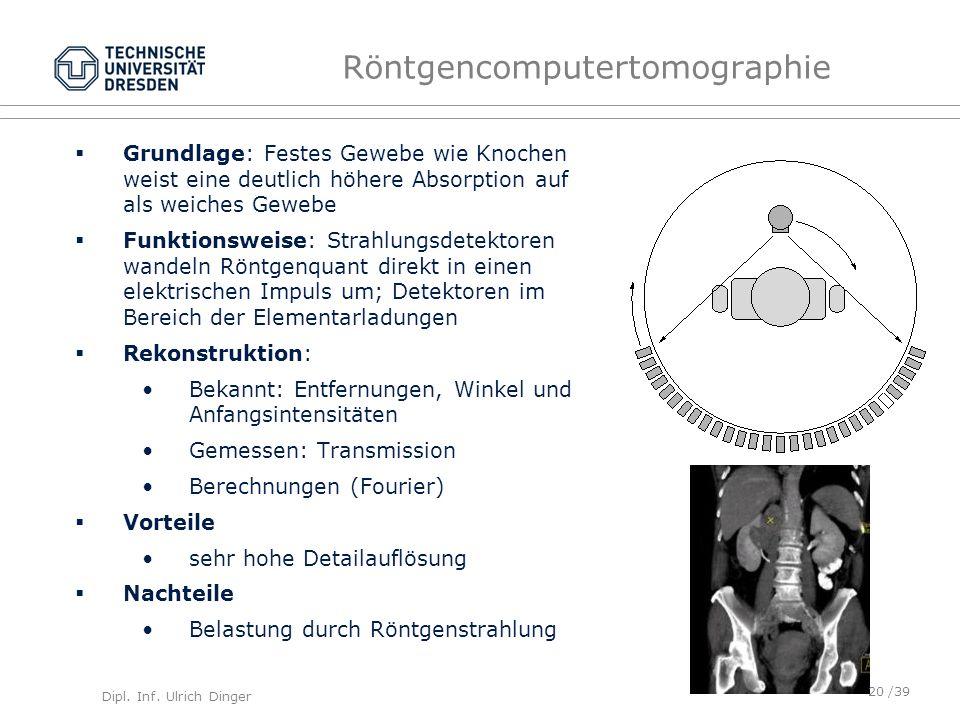 Dipl. Inf. Ulrich Dinger /39 Röntgencomputertomographie Grundlage: Festes Gewebe wie Knochen weist eine deutlich höhere Absorption auf als weiches Gew