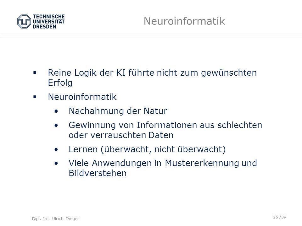 Dipl. Inf. Ulrich Dinger /39 Neuroinformatik Reine Logik der KI führte nicht zum gewünschten Erfolg Neuroinformatik Nachahmung der Natur Gewinnung von