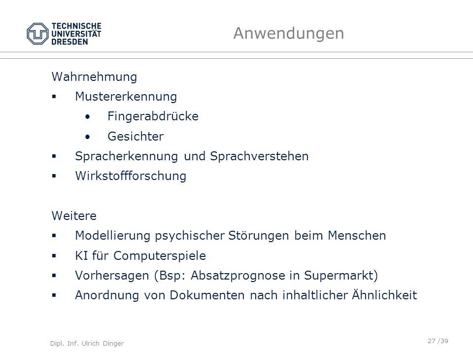 Dipl. Inf. Ulrich Dinger /39 Anwendungen Wahrnehmung Mustererkennung Fingerabdrücke Gesichter Spracherkennung und Sprachverstehen Wirkstoffforschung W