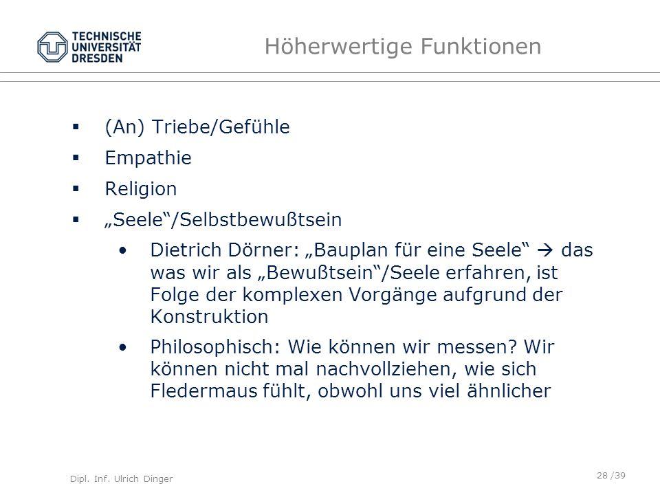 Dipl. Inf. Ulrich Dinger /39 Höherwertige Funktionen (An) Triebe/Gefühle Empathie Religion Seele/Selbstbewußtsein Dietrich Dörner: Bauplan für eine Se
