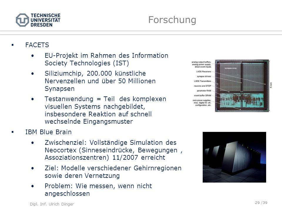 Dipl. Inf. Ulrich Dinger /39 Forschung FACETS EU-Projekt im Rahmen des Information Society Technologies (IST) Siliziumchip, 200.000 künstliche Nervenz