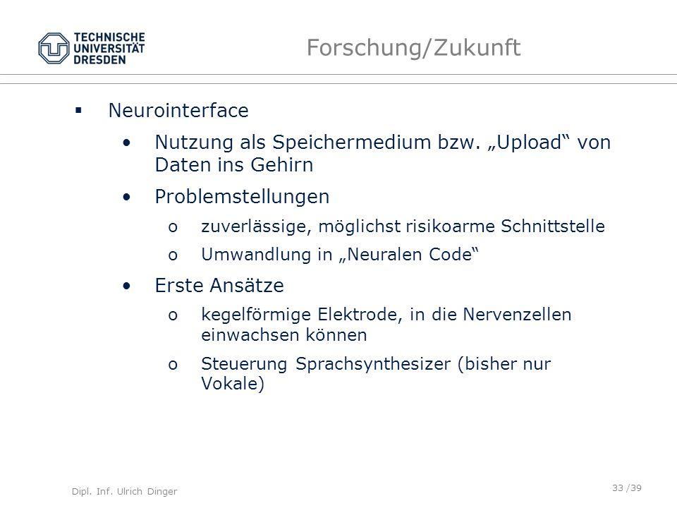 Dipl. Inf. Ulrich Dinger /39 Forschung/Zukunft Neurointerface Nutzung als Speichermedium bzw. Upload von Daten ins Gehirn Problemstellungen ozuverläss