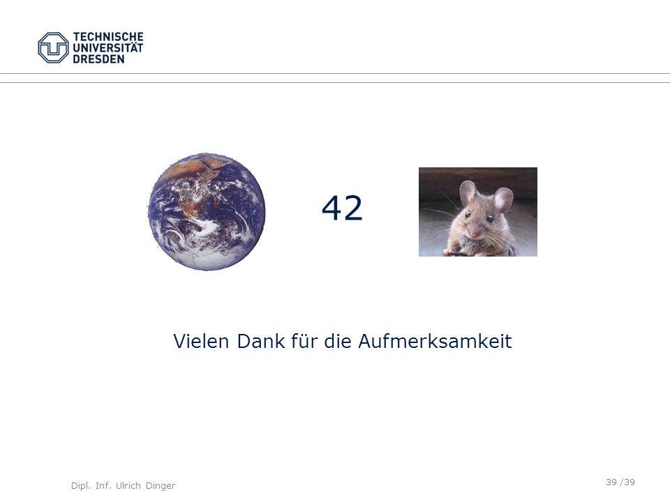 Dipl. Inf. Ulrich Dinger /39 42 Vielen Dank für die Aufmerksamkeit 39