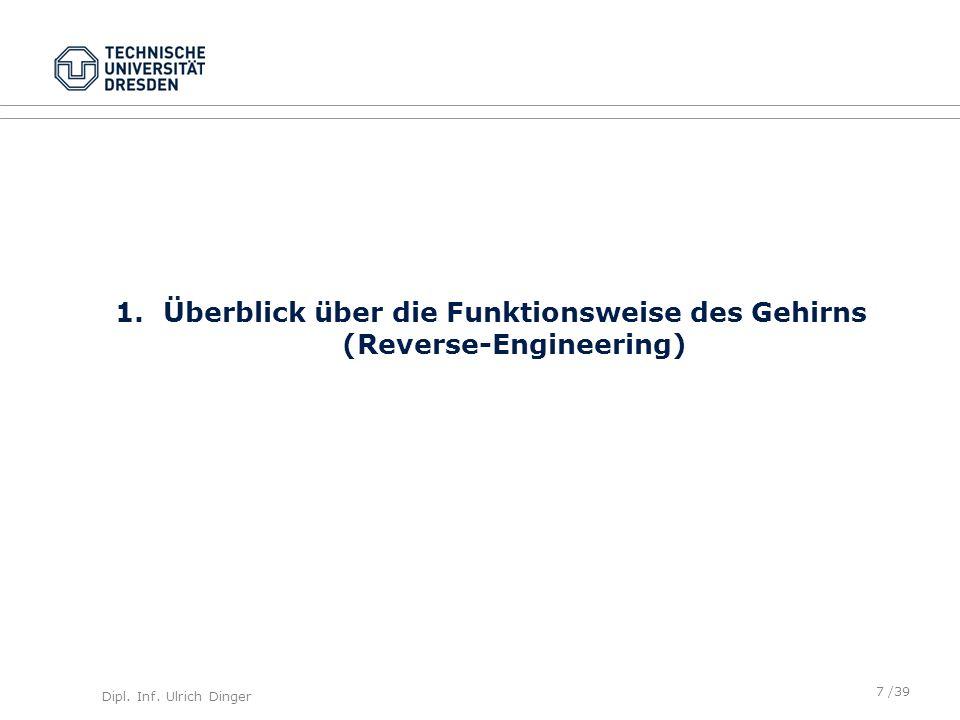 Dipl. Inf. Ulrich Dinger /39 1.Überblick über die Funktionsweise des Gehirns (Reverse-Engineering) 7