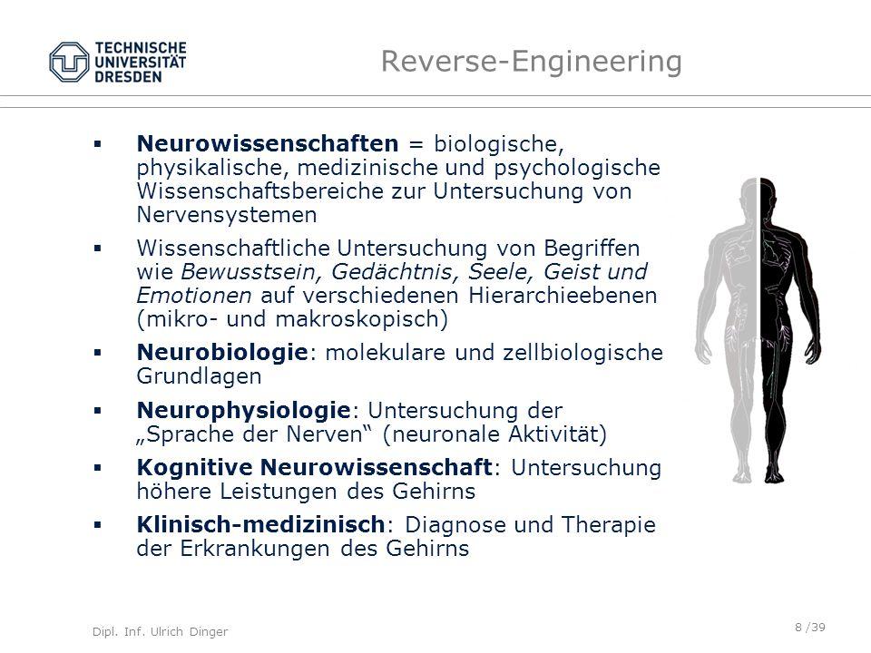Dipl. Inf. Ulrich Dinger /39 Reverse-Engineering Neurowissenschaften = biologische, physikalische, medizinische und psychologische Wissenschaftsbereic
