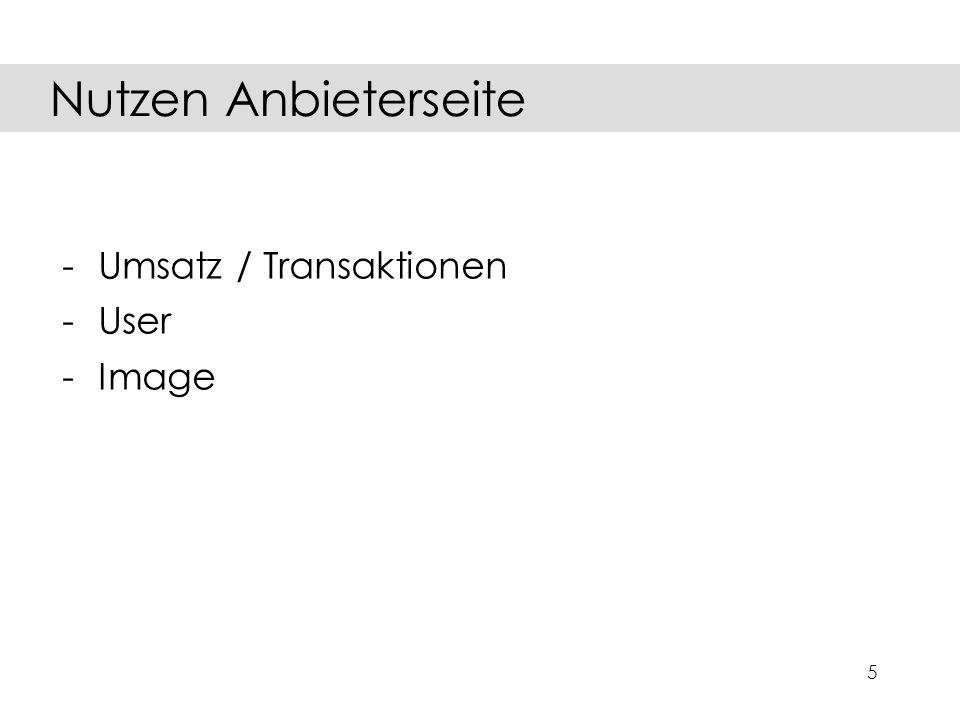 5 -Umsatz / Transaktionen -User -Image Nutzen Anbieterseite