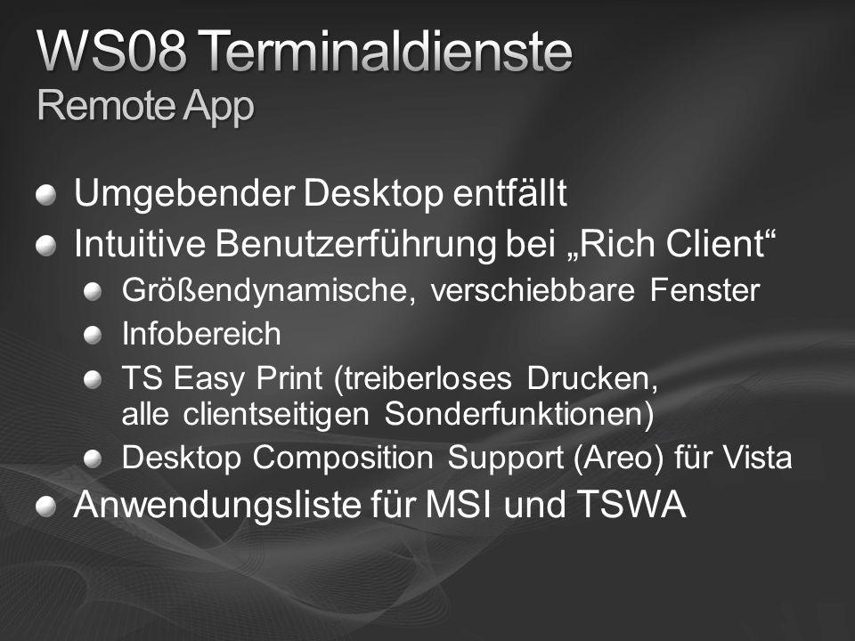 Umgebender Desktop entfällt Intuitive Benutzerführung bei Rich Client Größendynamische, verschiebbare Fenster Infobereich TS Easy Print (treiberloses Drucken, alle clientseitigen Sonderfunktionen) Desktop Composition Support (Areo) für Vista Anwendungsliste für MSI und TSWA