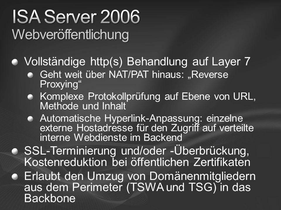 Vollständige http(s) Behandlung auf Layer 7 Geht weit über NAT/PAT hinaus: Reverse Proxying Komplexe Protokollprüfung auf Ebene von URL, Methode und Inhalt Automatische Hyperlink-Anpassung: einzelne externe Hostadresse für den Zugriff auf verteilte interne Webdienste im Backend SSL-Terminierung und/oder -Überbrückung, Kostenreduktion bei öffentlichen Zertifikaten Erlaubt den Umzug von Domänenmitgliedern aus dem Perimeter (TSWA und TSG) in das Backbone