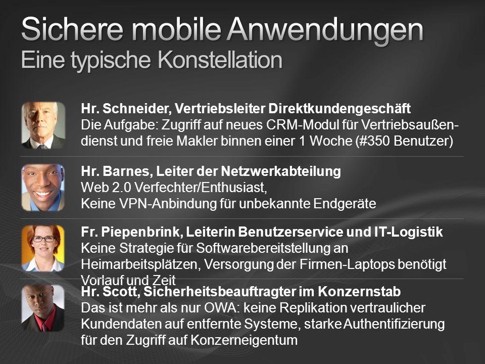 Hr. Barnes, Leiter der Netzwerkabteilung Web 2.0 Verfechter/Enthusiast, Keine VPN-Anbindung für unbekannte Endgeräte Hr. Schneider, Vertriebsleiter Di