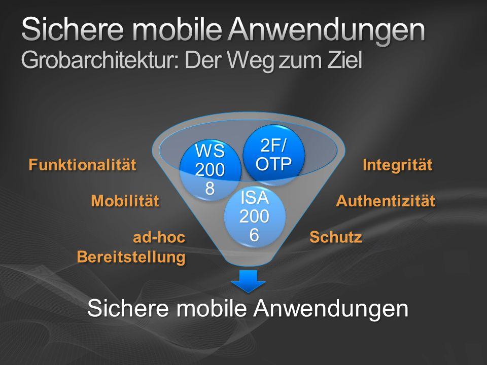 Sichere mobile Anwendungen ISA 200 6 WS 200 8 2F/ OTP Funktionalität Schutz Authentizität Integrität Mobilität ad-hoc Bereitstellung