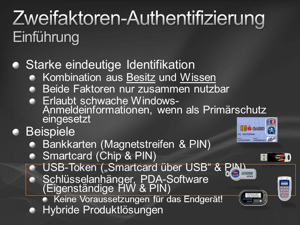 Starke eindeutige Identifikation Kombination aus Besitz und Wissen Beide Faktoren nur zusammen nutzbar Erlaubt schwache Windows- Anmeldeinformationen, wenn als Primärschutz eingesetzt Beispiele Bankkarten (Magnetstreifen & PIN) Smartcard (Chip & PIN) USB-Token (Smartcard über USB & PIN) Schlüsselanhänger, PDA-Software (Eigenständige HW & PIN) Keine Voraussetzungen für das Endgerät.