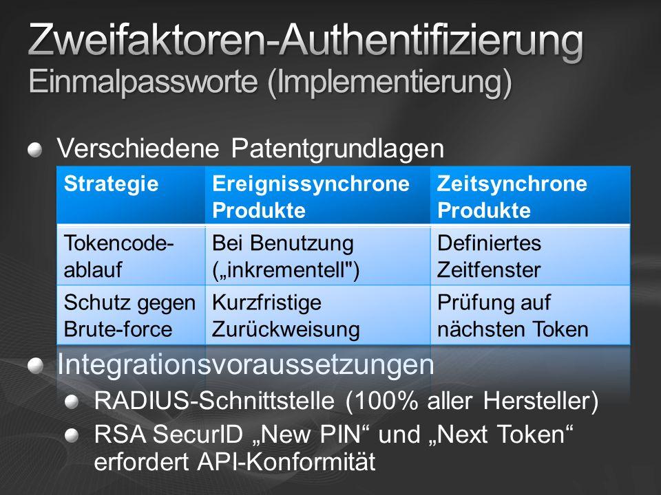Verschiedene Patentgrundlagen Integrationsvoraussetzungen RADIUS-Schnittstelle (100% aller Hersteller) RSA SecurID New PIN und Next Token erfordert API-Konformität