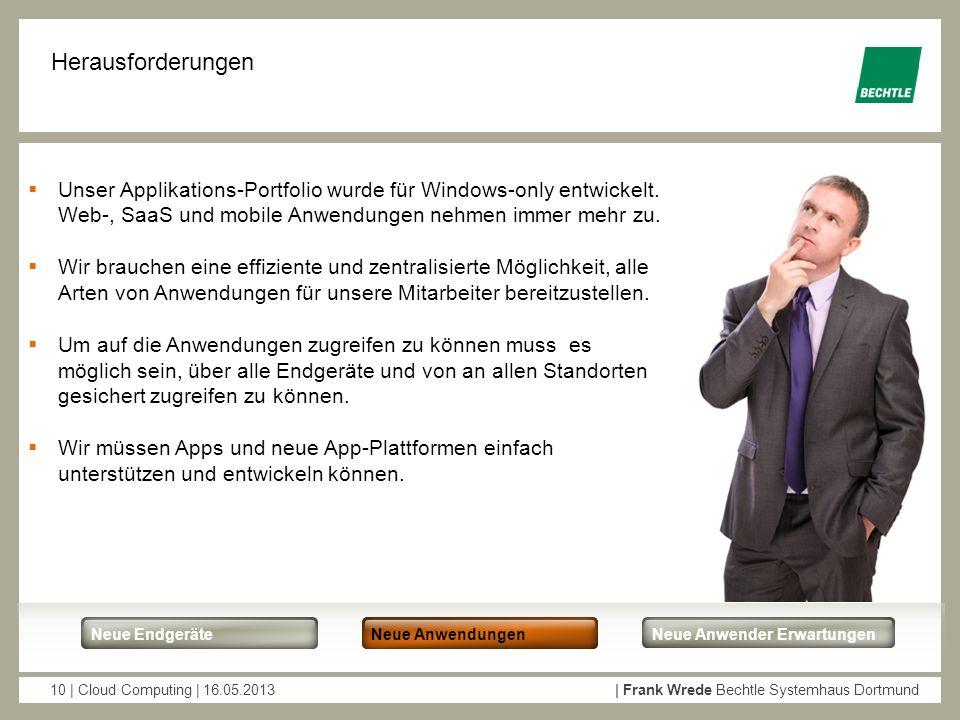 10 | Cloud Computing | 16.05.2013| Frank Wrede Bechtle Systemhaus Dortmund Neue EndgeräteNew AppsNeue Anwender Erwartungen Neue Anwendungen Herausford