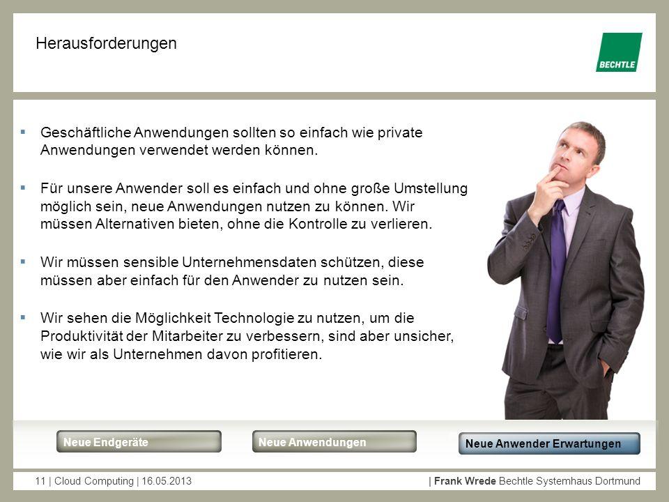 11 | Cloud Computing | 16.05.2013| Frank Wrede Bechtle Systemhaus Dortmund Neue EndgeräteNeue Anwendungen Neue Anwender Erwartungen Herausforderungen