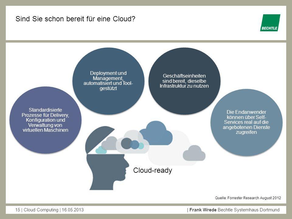 15 | Cloud Computing | 16.05.2013| Frank Wrede Bechtle Systemhaus Dortmund Sind Sie schon bereit für eine Cloud? Quelle: Forrester Research August 201