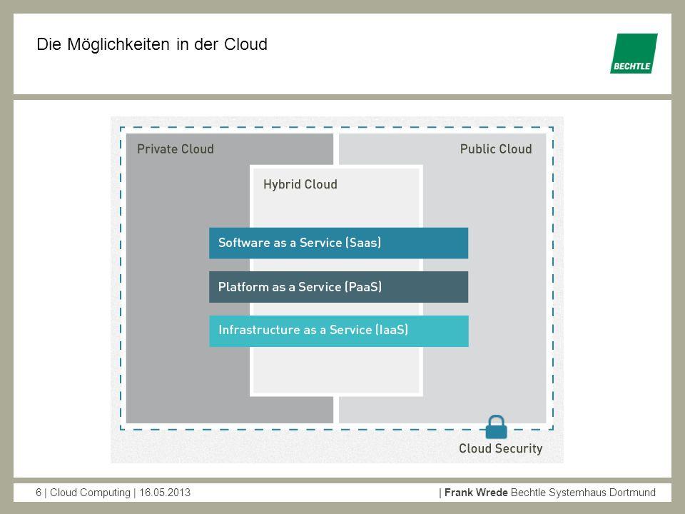 6 | Cloud Computing | 16.05.2013| Frank Wrede Bechtle Systemhaus Dortmund Die Möglichkeiten in der Cloud