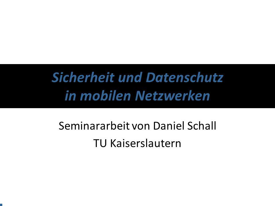 Motivation Sicherheit Datenschutz Resümee Sicherheit und Datenschutz in mobilen Netzwerken Daniel Schall 22 Datenschutz Probleme –Sicheres Auffinden von Diensten Register Find Bind Dienstanbieter Verzeichnis Dienstnutzer Privacy?