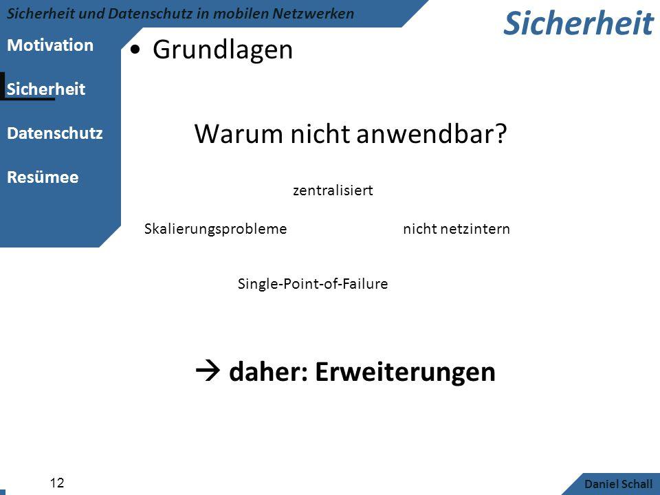 Motivation Sicherheit Datenschutz Resümee Sicherheit und Datenschutz in mobilen Netzwerken Daniel Schall 12 Sicherheit Grundlagen Warum nicht anwendba