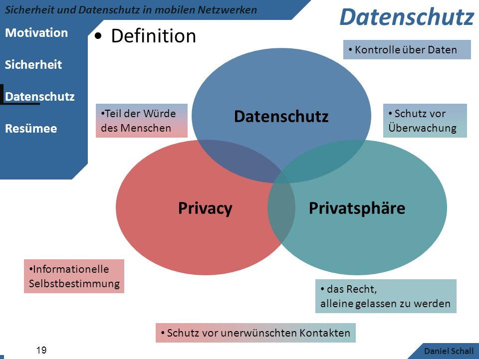 Motivation Sicherheit Datenschutz Resümee Sicherheit und Datenschutz in mobilen Netzwerken Daniel Schall 19 Datenschutz Definition Privacy Datenschutz