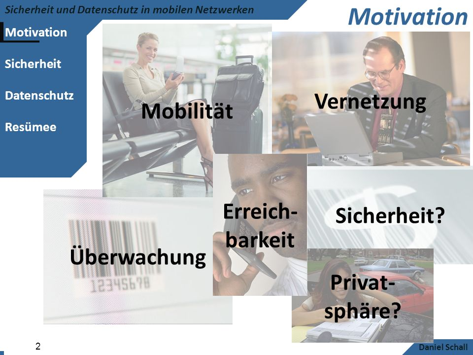 Motivation Sicherheit Datenschutz Resümee Sicherheit und Datenschutz in mobilen Netzwerken Daniel Schall 3 Inhalt Sicherheit + Datenschutz Probleme, Lösungen und Ausblick