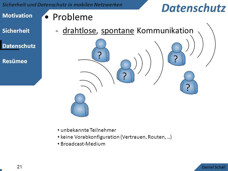 Motivation Sicherheit Datenschutz Resümee Sicherheit und Datenschutz in mobilen Netzwerken Daniel Schall 21 Datenschutz Probleme -drahtlose, spontane