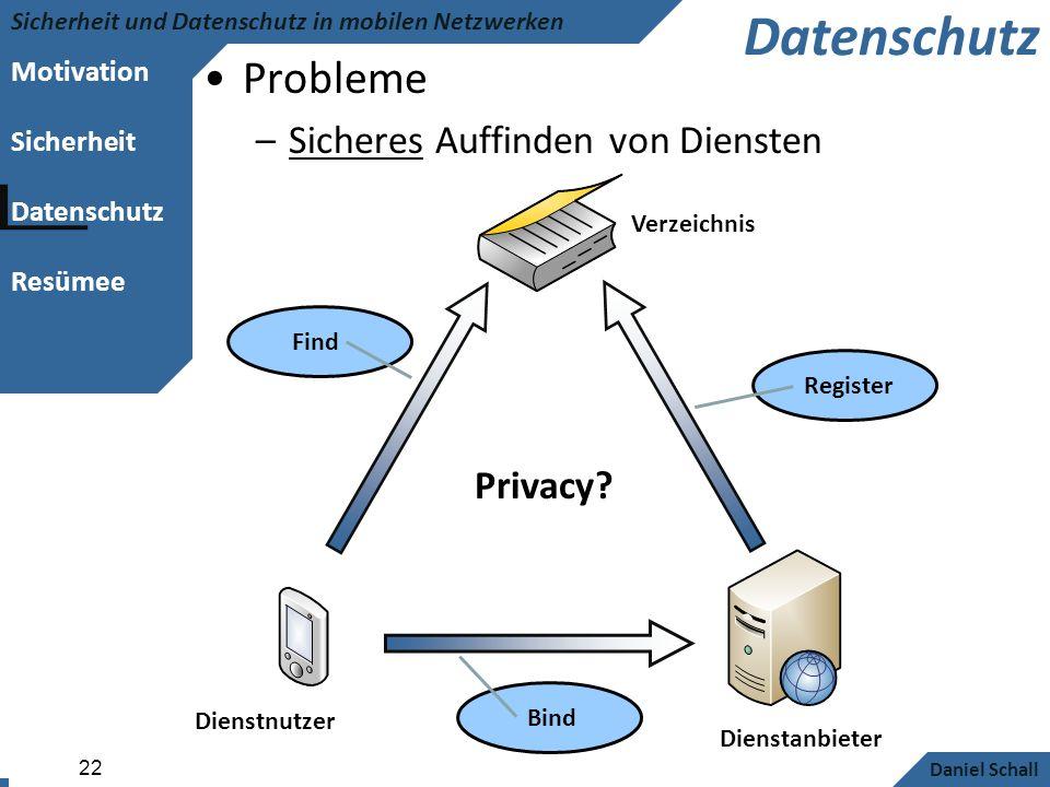 Motivation Sicherheit Datenschutz Resümee Sicherheit und Datenschutz in mobilen Netzwerken Daniel Schall 22 Datenschutz Probleme –Sicheres Auffinden v