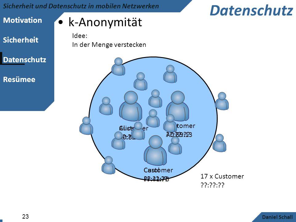 Motivation Sicherheit Datenschutz Resümee Sicherheit und Datenschutz in mobilen Netzwerken Daniel Schall 23 Datenschutz k-Anonymität Alice 00:81:F2 Bo